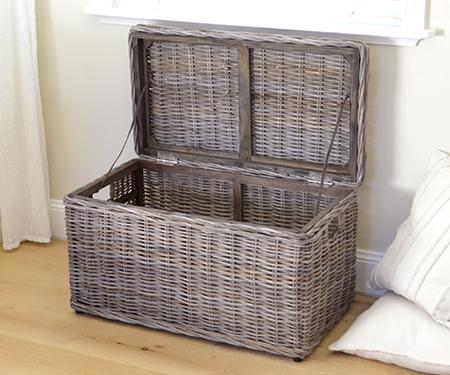 & Rattan Storage Trunk - Blanket Box Antique Grey