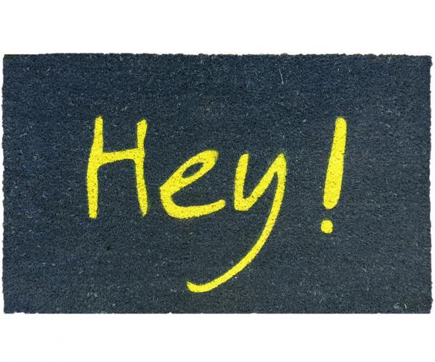 Hey Doormat Navy & Yellow PVC Backed