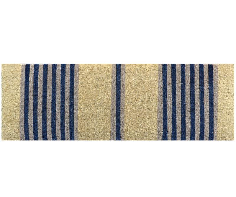 Classic Navy Stripe Long Doormat 100% Coir