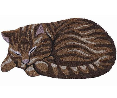 Sleeping Tabby Cat Vinyl Backed Doormat