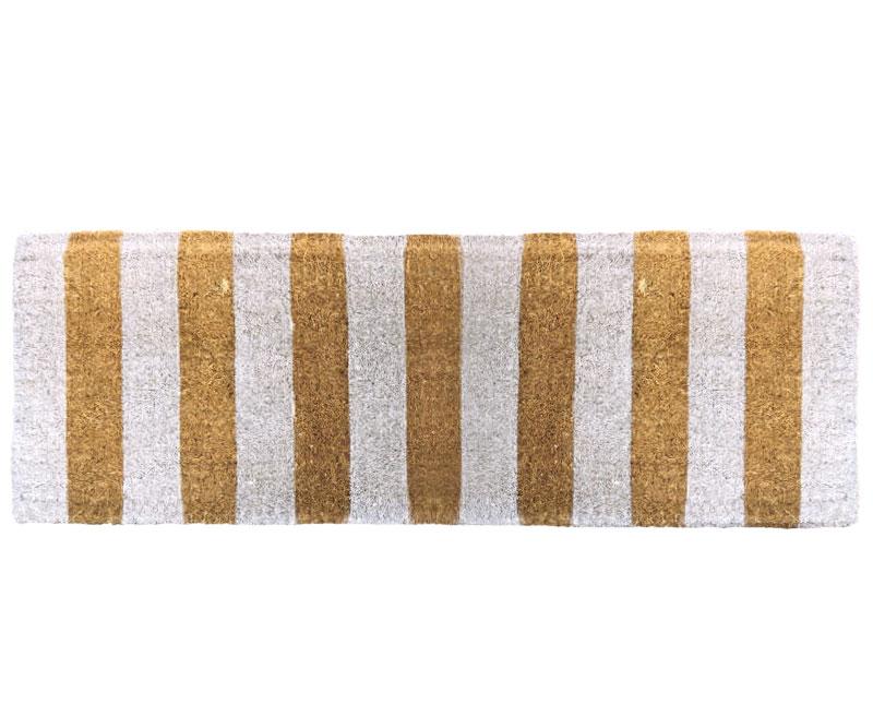 White Stripe Long Doormat 100% Coir