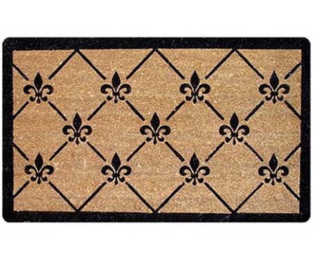 Fleur de Lys Trellis Vinyl Backed Doormat