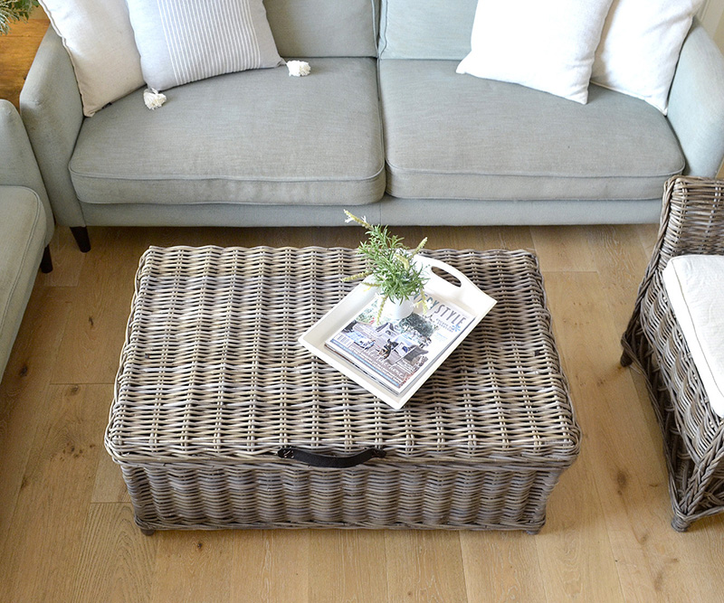 Hartley Rattan Trunk Coffee Table Antique Grey Cane Trunk With Straps