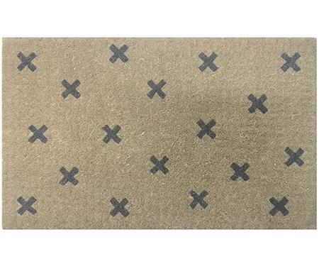 Crosses Charcoal Doormat - 100% Coir Regular Doormat