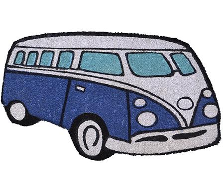 Blue Kombi Van Doormat - vinyl backed