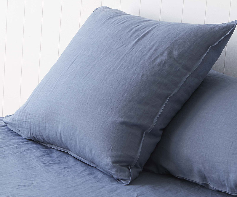 Set 2 Euro Pillowcases Vintage Denim Linen