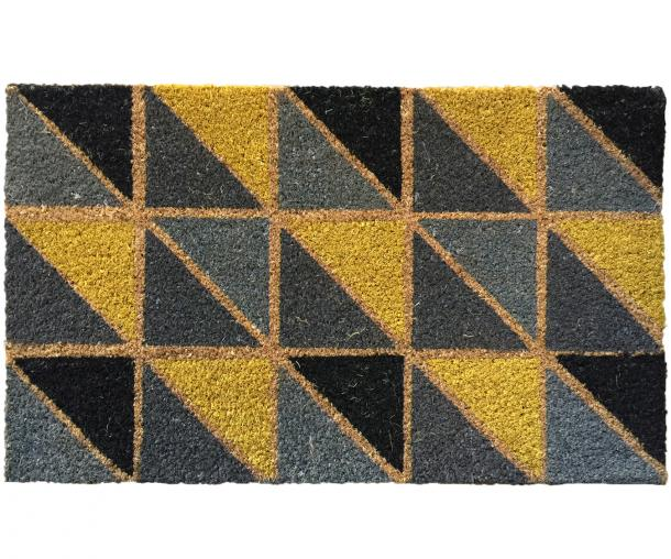 Flag Yellow & Grey Triangles Doormat Vinyl Backed
