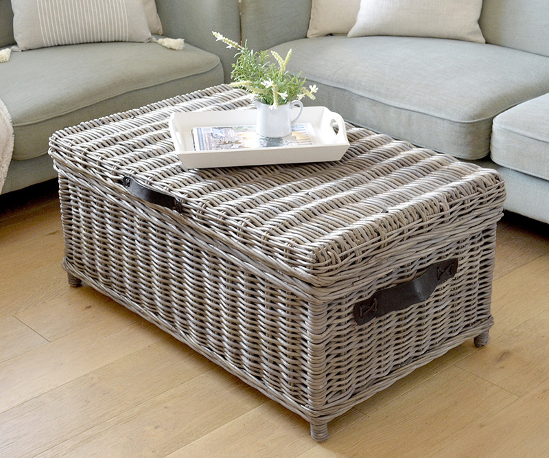 Rattan Trunk Coffee Table Antique Grey Cane Trunk With Straps - Grey chest coffee table