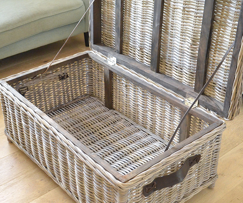 Rattan Trunk Coffee Table Antique Grey Cane Trunk With Straps