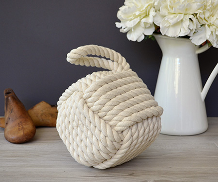 White Rope Knot Doorstop