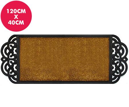 Sofia Long Doormat Coir & Rubber Scroll