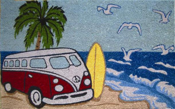 Red Kombi Surf Doormat - PVC backed