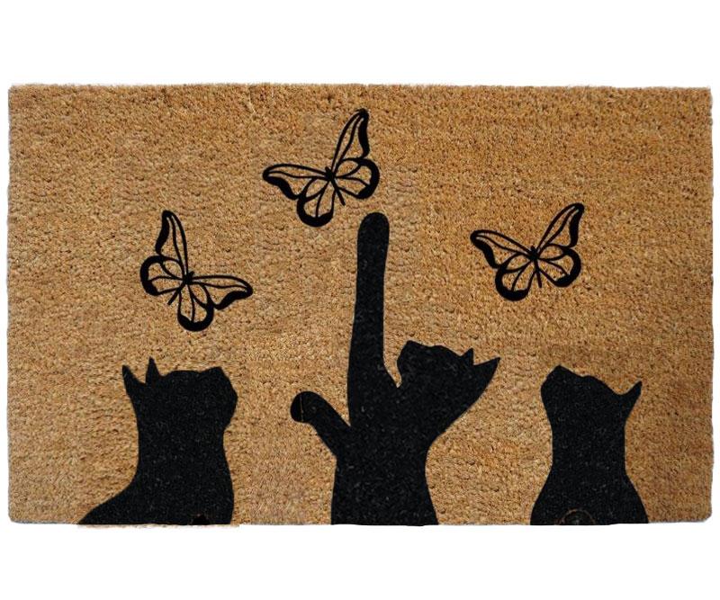 Kittens & Butterflies Doormat Vinyl Backed