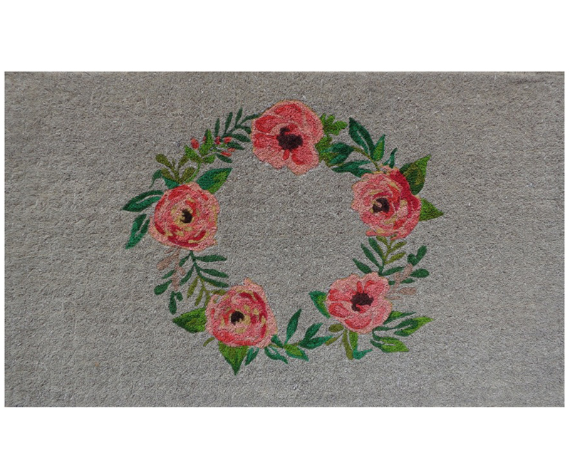Rose Wreath 100% Coir Doormat