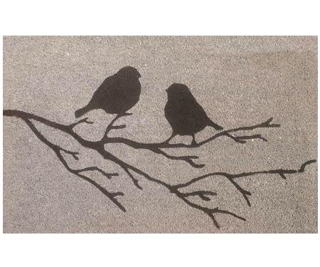 Birds on a Branch Grey Vinyl Backed Doormat