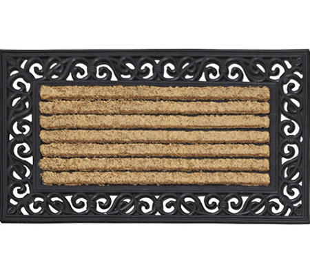 Ribbed Coir Scroll Border - Rubber Backed Doormat