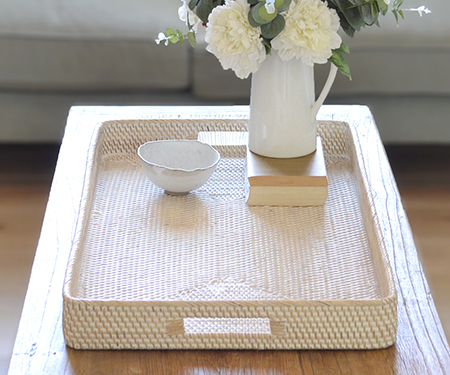 Brooklyn Long Ottoman Tray Whitewash Rattan