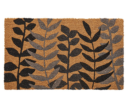 Fern Charcoal Leaves Regular Doormat PVC Backed