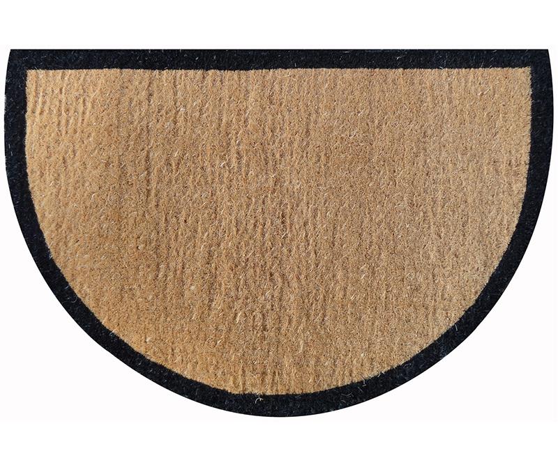 Black Border Large Half Round Doormat 100% Coir