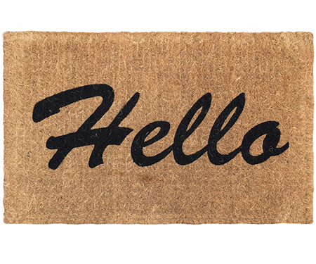 Hello 100% Coir Doormat