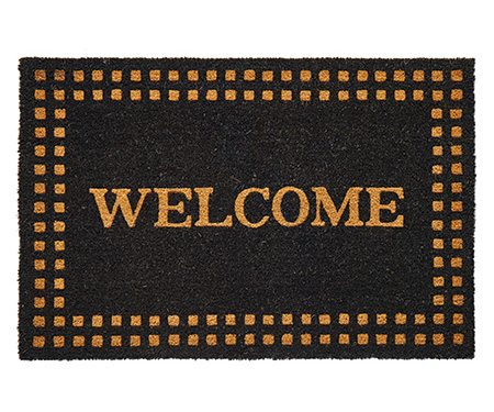Welcome Check Border Large Black Doormat PVC Backed