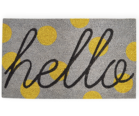 Hello Yellow Spot Doormat Vinyl Backed