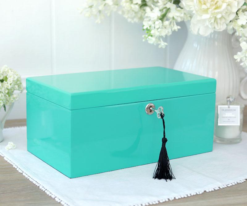 e6cece09eaf Tiffany Aqua Lacquer Jewellery Box Large