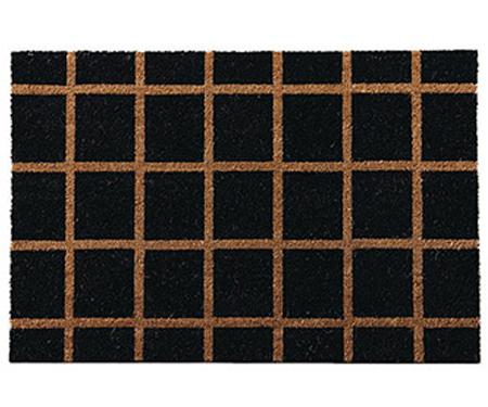 Check Black Doormat 60x90cm PVC Backed