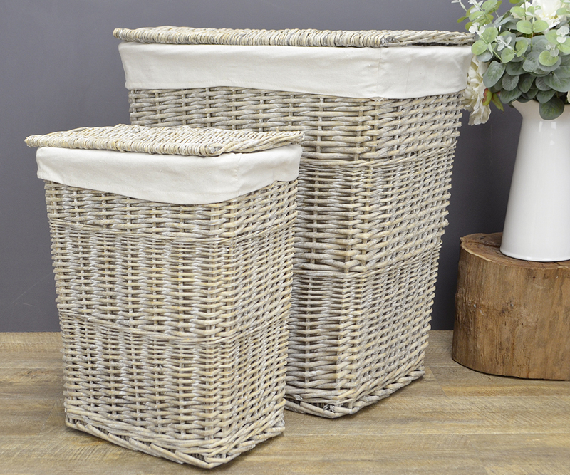 Small Rattan Laundry Basket Antique Grey