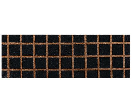Check Black Doormat Long PVC Backed