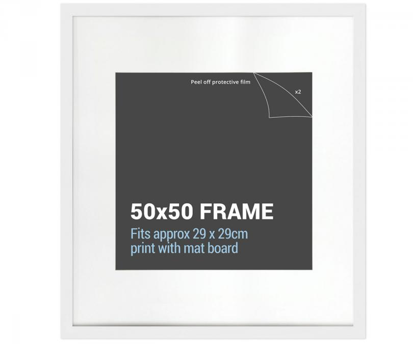 Square White Picture Frame 50x50cm With Mat Board