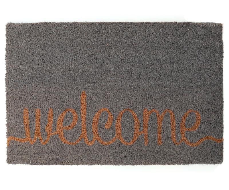 Welcome Grey Regular Vinyl Backed Doormat