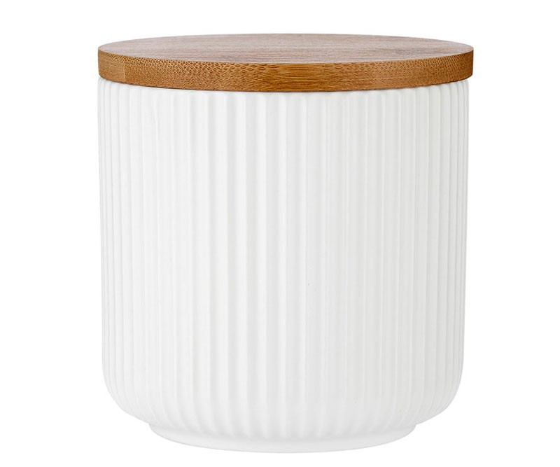 Linear Ribbed White Canister 10cm
