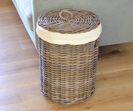 Round Rattan Laundry Basket With Lid Medium