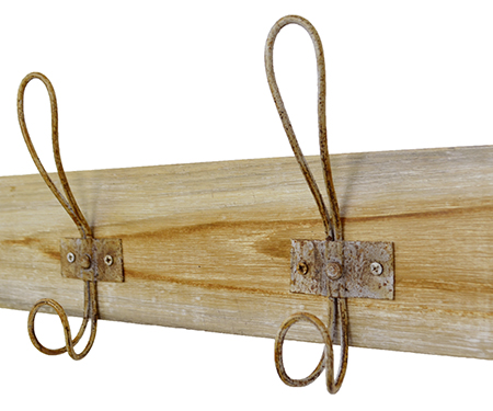 Whitewash Honey Teak 6 Hook Coat Rack