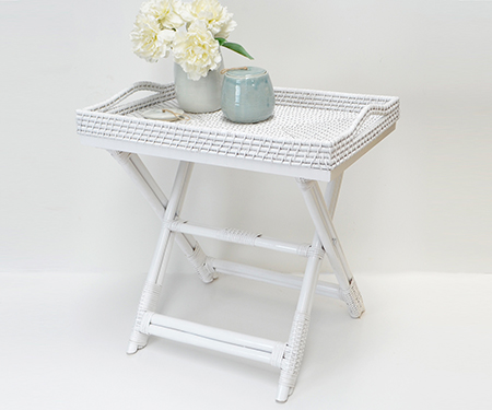 Rattan Butlers Tray Table White