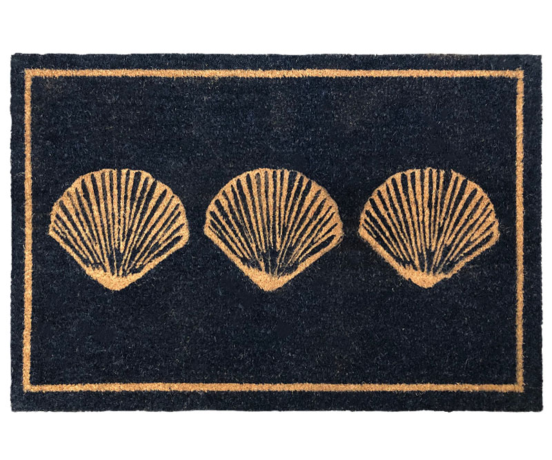 Scallop Shells Black Doormat Large PVC Backed