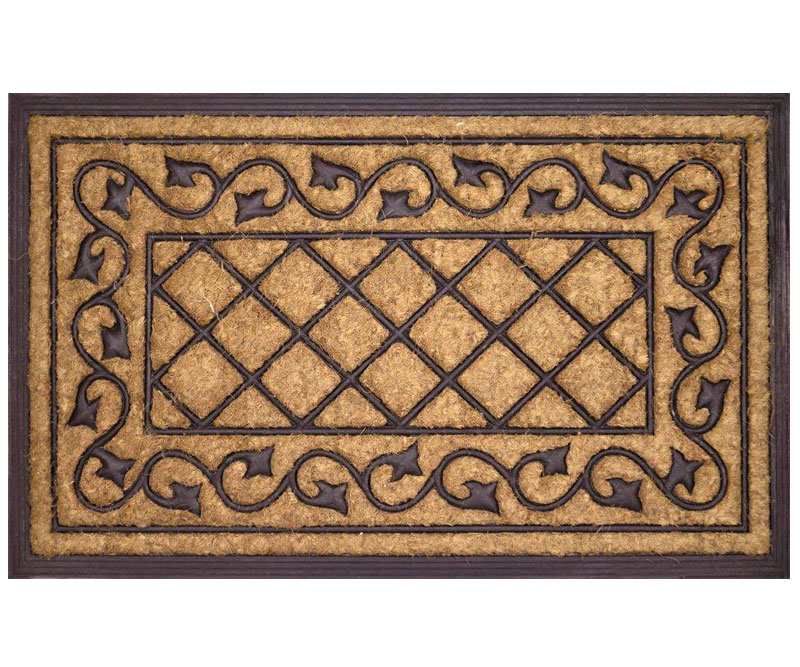 Check Vine Rubber & Coir Regular Doormat
