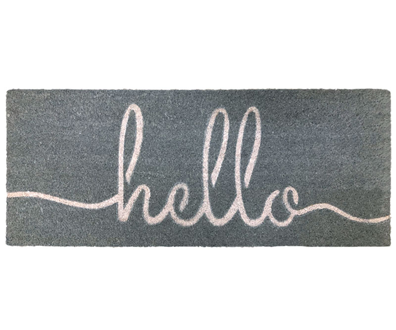 Long Grey Hello Doormat PVC Backed