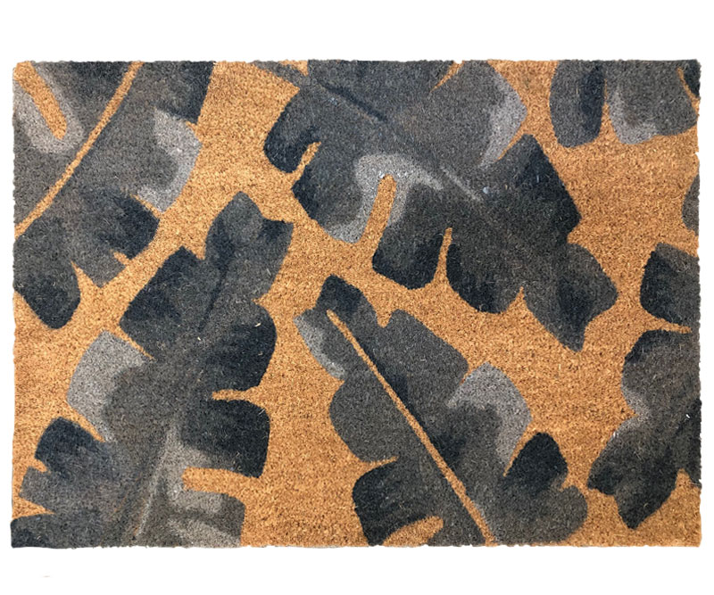Noosa Grey Leaves Large Doormat PVC Backed