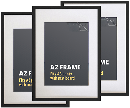 Set 3 A2 Black Picture Frames