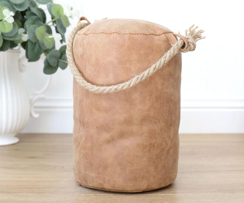 Tan Leather Look Door Stop