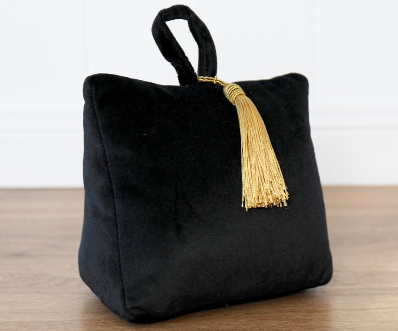 Black Velvet Doorstop with Tassel
