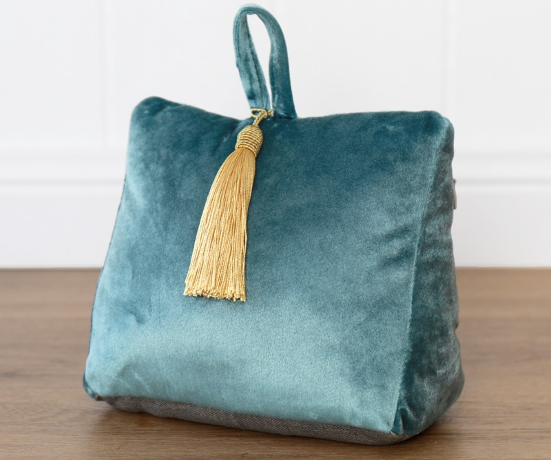 Teal Velvet Doorstop with Tassel