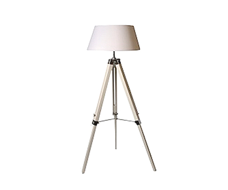 White wood tripod floor lamp shade for Tripod floor lamp silver base white shade