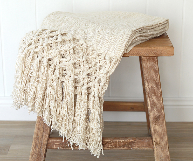 macrame blanket marcella ivory throw macrame fringe 6859