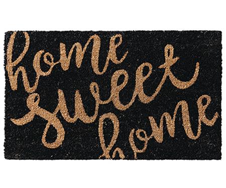 Home Sweet Home Black Doormat Vinyl Backed
