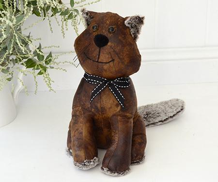 Brown Cat Doorstop Leather-Look