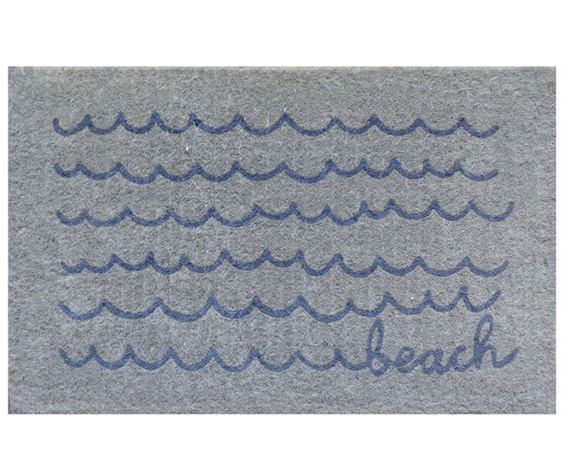Beach Waves Grey Doormat - Regular