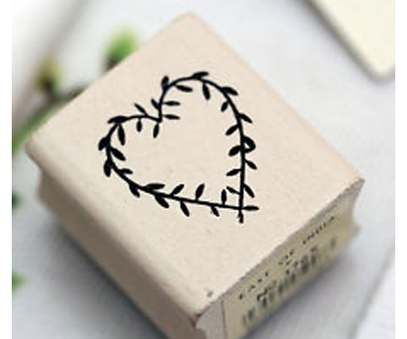 Heart Wreath Rubber Stamp